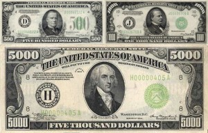 Currency Grading and Authentication Buying and Selling All US Paper Money and Specializing in High Denomination Notes $500 - $1,000 - $5,000 - $10,000
